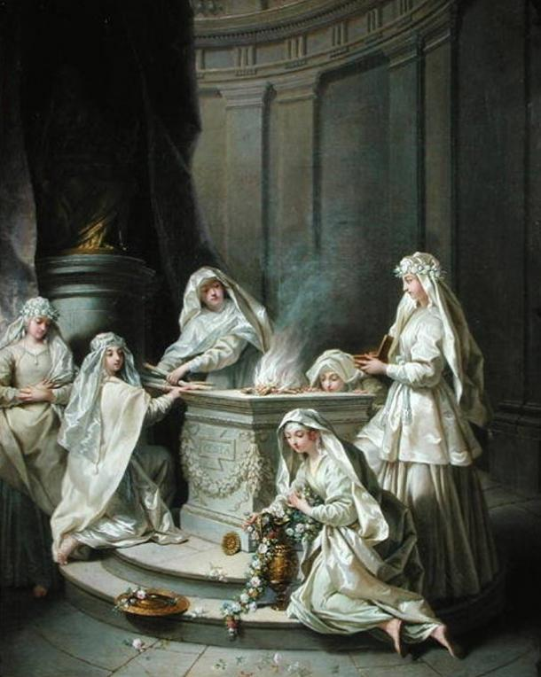 The Vestal Virgins tending to the sacred fire