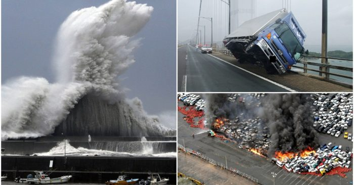 Typhoon Jebi hammered the country's west coast as it made landfall with violent winds of up to 135mph