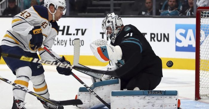 552c822e455 Logan Couture has hat trick to lead Sharks past Sabres 5-1