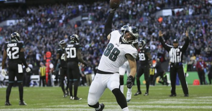 c65a2e2b328 Philadelphia Eagles tight end Dallas Goedert (88) celebrates after scoring  a touchdown during the first half of an NFL football game against  Jacksonville ...