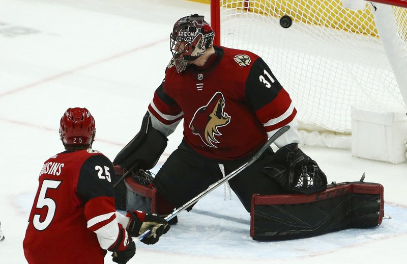 Arizona Coyotes goaltender Adin Hill (31) gives up a goal to Washington Capitals' Matt Niskanen as Coyotes center Nick Cousins (25) watches during the second period of an NHL hockey game Thursday, Dec. 6, 2018, in Glendale, Ariz. (AP Photo/Ross D. Franklin)