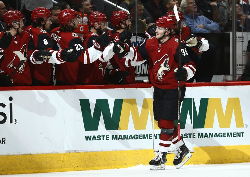 Arizona Coyotes right wing Christian Fischer (36) celebrates his goal against the Washington Capitals during the first period of an NHL hockey game Thursday, Dec. 6, 2018, in Glendale, Ariz. (AP Photo/Ross D. Franklin)