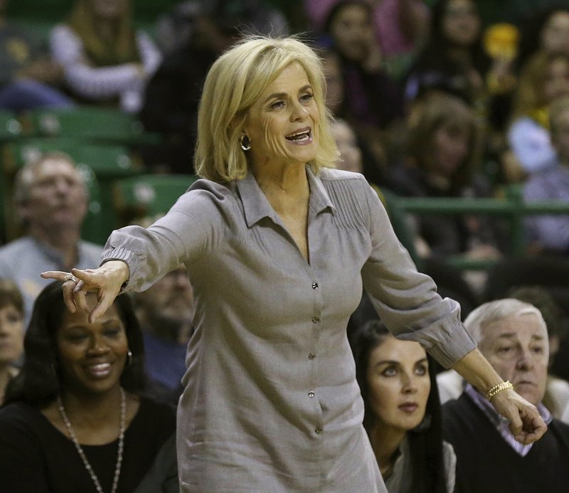 Baylor head coach Kim Mulkey calls a play to her team in the second half of an NCAA college basketball game against University of Texas Rio Grande Valley, Monday Dec. (Jerry Larson/Waco Tribune-Herald via AP)