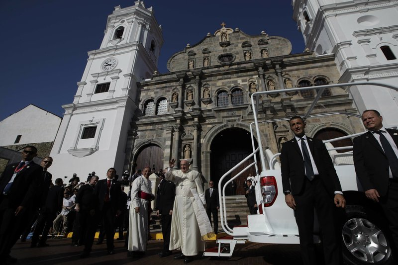Pope Francis arrives to celebrate a Mass at the Santa Maria La Antigua cathedral on the occasion of his visit for the World Youth Day, in Panama City, Saturday, Jan. (AP Photo/Alessandra Tarantino)