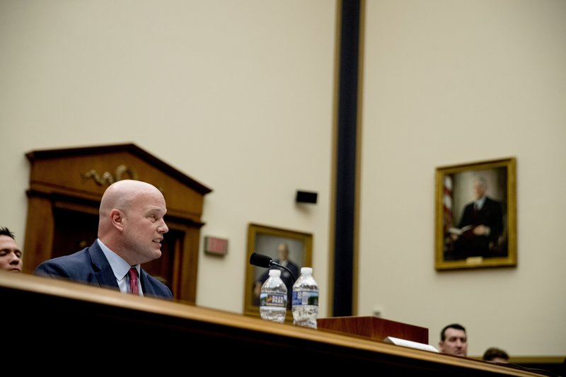 Acting Attorney General Matthew Whitaker speaks during a House Judiciary Committee hearing on Capitol Hill, Friday, Feb. (AP Photo/Andrew Harnik)