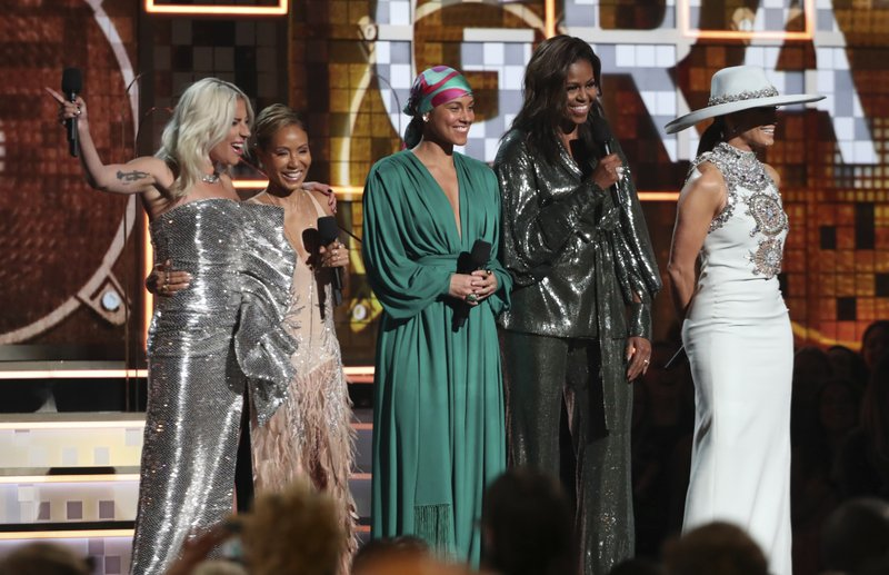 Lady Gaga, from left, Jada Pinkett Smith, Alicia Keys, Michelle Obama and Jennifer Lopez speak at the 61st annual Grammy Awards on Sunday, Feb. (Photo by Matt Sayles/Invision/AP)