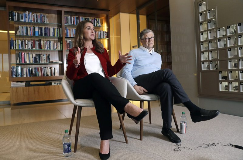 In this Feb. 1, 2019 photo, Bill and Melinda Gates are interviewed in Kirkland, Wash. The couple, whose foundation has the largest endowment in the world, are pushing back against a new wave of criticism about whether billionaire philanthropy is a force for good. (AP Photo/Elaine Thompson)