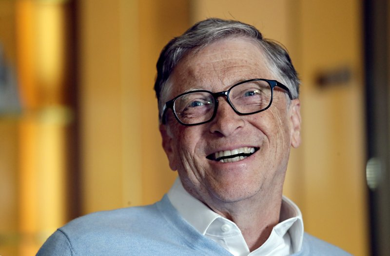 In this Feb. 1, 2019, Bill Gates smiles while being interviewed in Kirkland, Wash. Bill and Melinda Gates are pushing back against a new wave of criticism about whether billionaire philanthropy is a force for good. (AP Photo/Elaine Thompson)