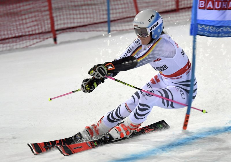 Germany's Christina Geiger competes during an alpine ski World Cup women's parallel slalom city event, in Hammarbybacken, Stockholm, Sweden, Tuesday, Feb. (Pontus Lundahl/TT via AP)