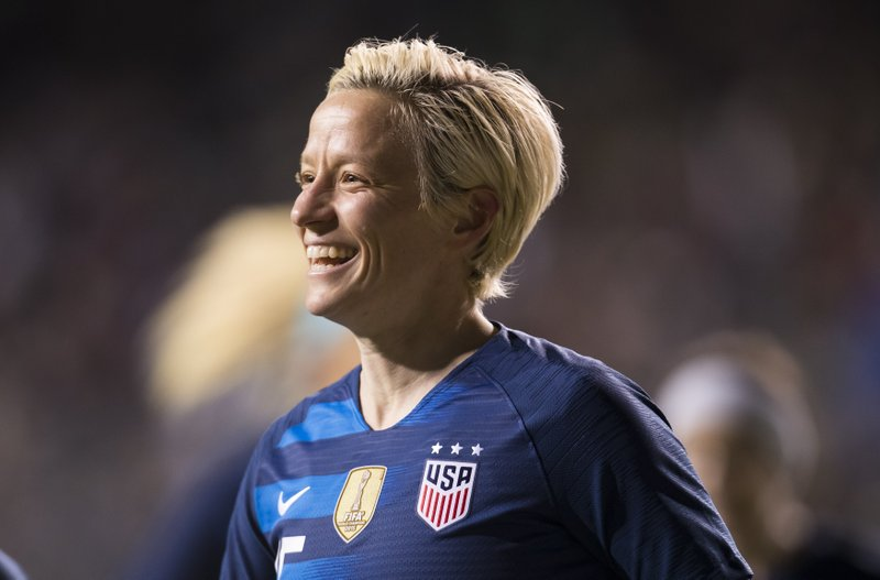 United States' Megan Rapinoe reacts to scoring a goal during the first half of SheBelieves Cup soccer match against the Japan, Wednesday, Feb. (AP Photo/Chris Szagola)