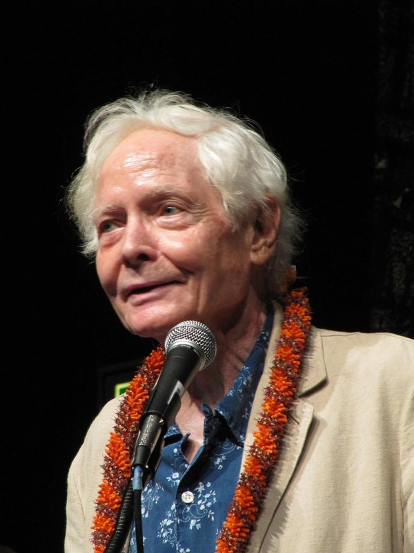 FILE - In this Aug. 2, 2011 file photo, poet W.S. Merwin speaks to the Hawaii Conservation Conference in Honolulu. (AP Photo/Audrey McAvoy, File)