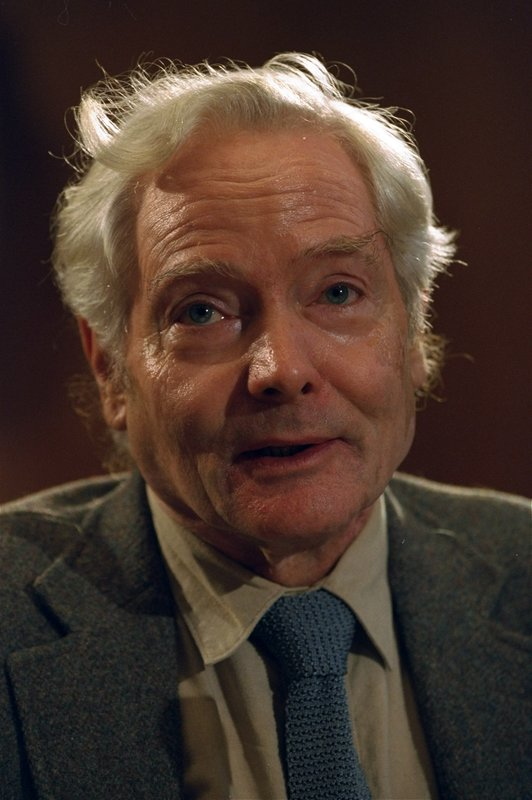 FILE - In this Sept. 29, 1994 file photo, poet W.S. Merwin is recognized by the Academy of American Poets after winning the Tanning Prize in Washington. (AP Photo, File)