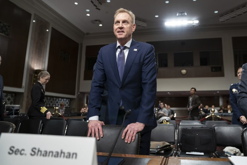 In this March 14, 2019, photo, acting Defense Secretary Patrick Shanahan goes before the Senate Armed Services Committee to discuss the Department of Defense budget, on Capitol Hill in Washington. (AP Photo/J. Scott Applewhite)