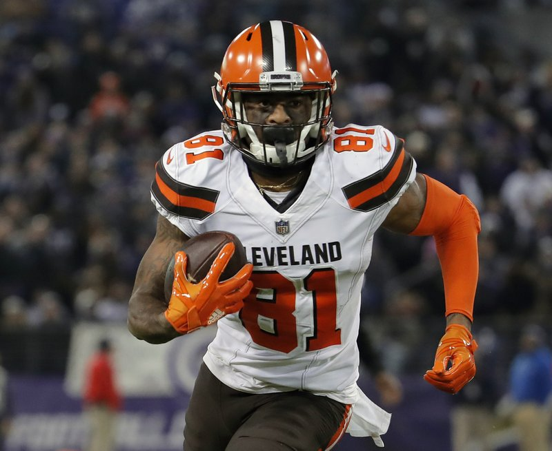 FILE - In this Dec. 30, 2018, file photo, Cleveland Browns wide receiver Rashard Higgins runs in the second half of an NFL football game against the Baltimore Ravens, in Baltimore. (AP Photo/Carolyn Kaster, File)