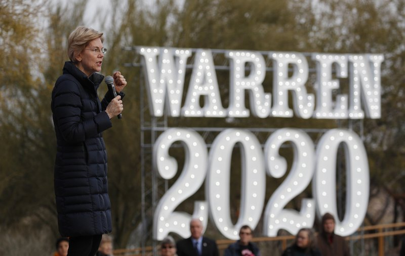 FILE - In this Feb. 17, 2019, file photo, Democratic presidential candidate Sen. Elizabeth Warren, D-Mass. (AP Photo/John Locher, File)