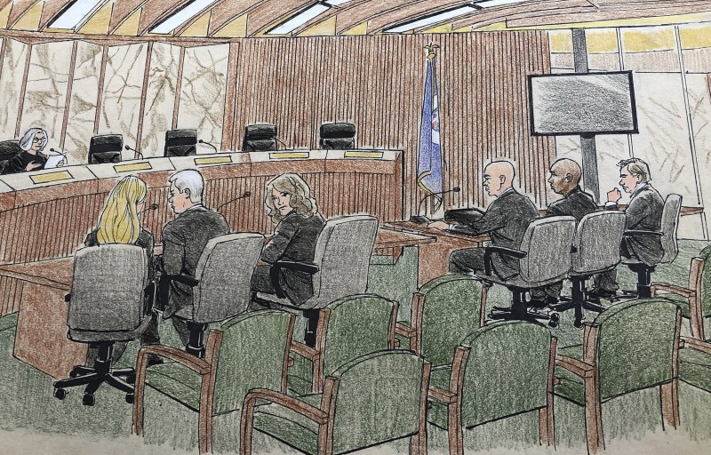 This courtroom sketch depicts jury selection Monday, April 1, 2019, in Minneapolis in the trial of former Minneapolis police officer Mohamed Noor, second from right, who fatally shot an unarmed Australian woman after she called 911 to report a possible sexual assault behind her home. (Cedric Hohnstadt via AP)