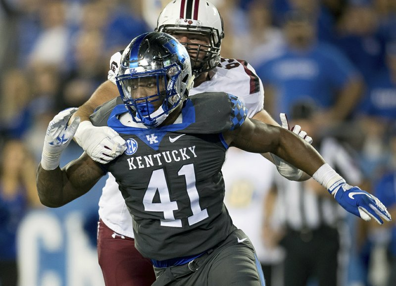 FILE - In this Sept. 29, 2018, file photo, Kentucky linebacker Josh Allen (41) rushes against South Carolina during the second half of an NCAA college football game, in Lexington, Ky. (AP Photo/Bryan Woolston, File)