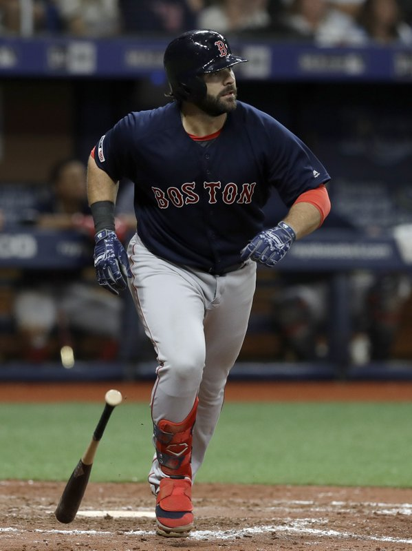 Boston Red Sox's Mitch Moreland watches his home run off Tampa Bay Rays relief pitcher Diego Castillo during the eighth inning of a baseball game Friday, April 19, 2019, in St. (AP Photo/Chris O'Meara)