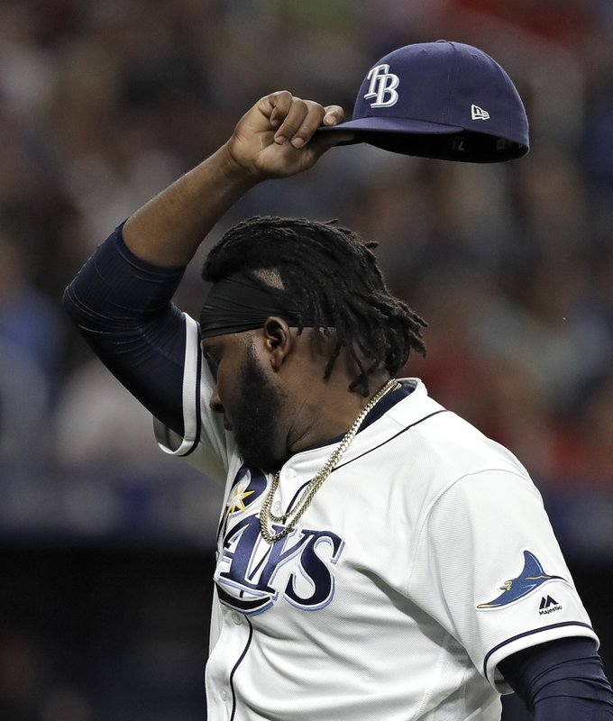 Tampa Bay Rays relief pitcher Diego Castillo (63) reacts after being taken out during the eighth inning of a baseball game against the Boston Red Sox, Friday, April 19, 2019, in St. (AP Photo/Chris O'Meara)