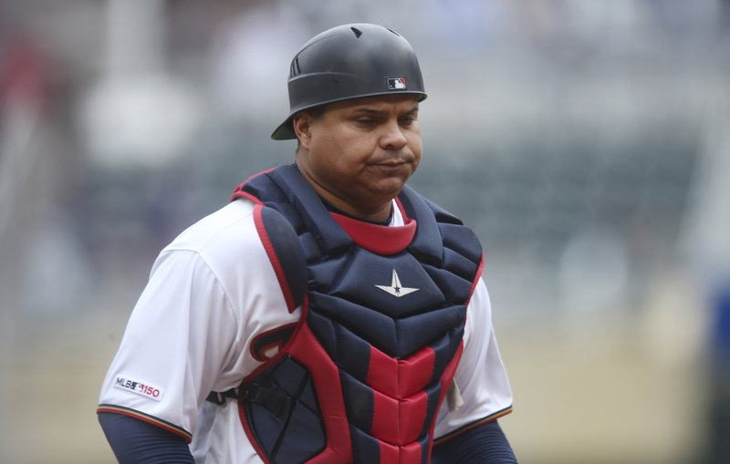 FILE - In this April 18, 2019, file photo, Minnesota Twins' Willians Astudillo is shown during a baseball game against the Toronto Blue Jays, in Minneapolis. (AP Photo/Jim Mone, File)