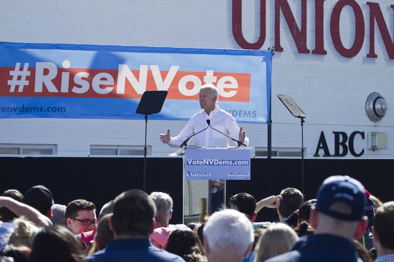 FILE - In this Oct. 20, 2018, file photo, former Vice President Joe Biden, who this week announced his candidacy for president, speaks to supporters during a Nevada Democratic Party rally at the Culinary Workers Union Local 226, in Las Vegas. (Christopher DeVargas/Las Vegas Sun via AP, File)