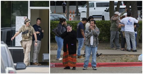 In this Wednesday, April 3, 2019 photo, U.S. Immigration and Customs Enforcement officials stand outside CVE Group in Allen, Texas. (Smiley N. Pool/The Dallas Morning News via AP)
