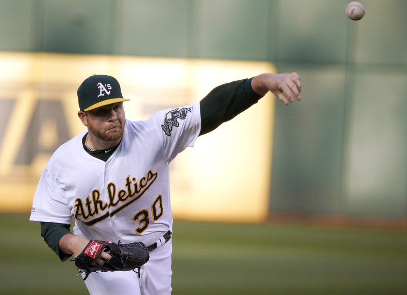 Oakland Athletics pitcher Brett Anderson (30) throws against the Cincinnati Reds in the first inning of a baseball game, Wednesday, May 8, 2019, in Oakland, Calif. (AP Photo/Tony Avelar)