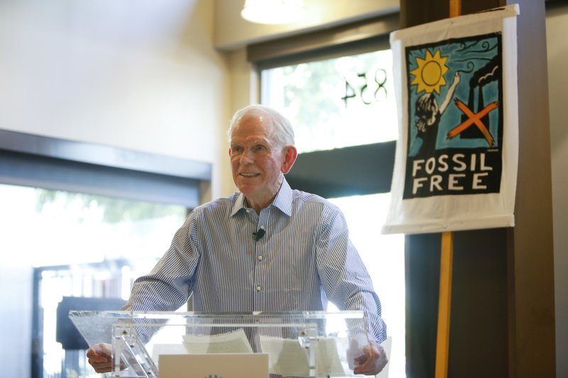 FILE - In this Sept. 10, 2018 file photo, Jeremy Grantham, co-founder of the Boston-based investment firm Grantham Mayo Van Otterloo (GMO), lays out the financial case for divestment at the Fossil Fuel Divestment State of the Movement event in San Francisco. (Alison Yin/AP Images for DivestInvest, File)