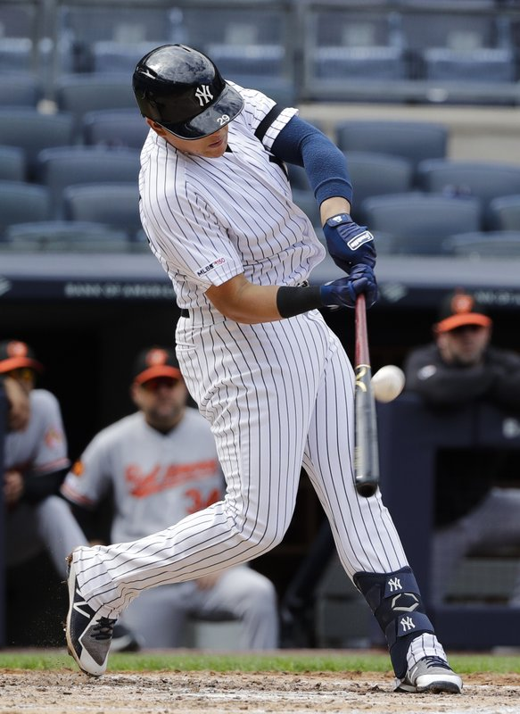New York Yankees' Gio Urshela connects for a base hit during the fourth inning of a baseball game against the Baltimore Orioles Wednesday, May 15, 2019, in New York. (AP Photo/Frank Franklin II)