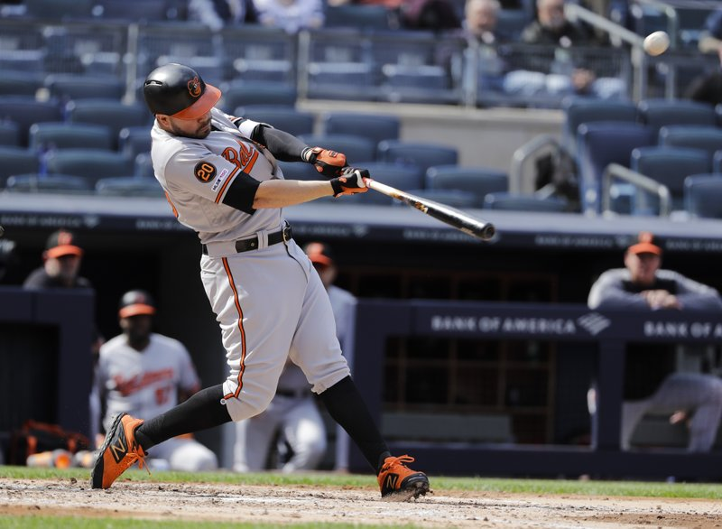 Baltimore Orioles' Renato Nunez hits a home run during the fourth inning of a baseball game against the New York Yankees Wednesday, May 15, 2019, in New York. (AP Photo/Frank Franklin II)