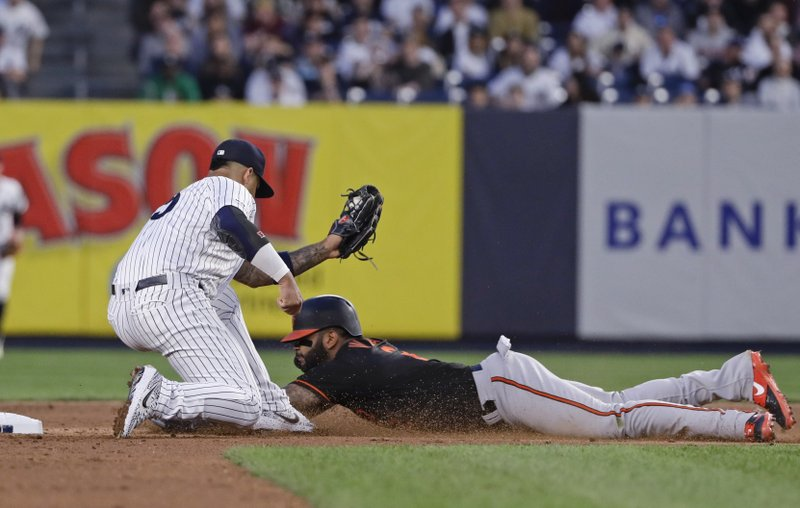 New York Yankees' Gleyber Torres, left, tags out Baltimore Orioles' Jonathan Villar during the sixth inning in the second baseball game of a doubleheader Wednesday, May 15, 2019, in New York. (AP Photo/Frank Franklin II)