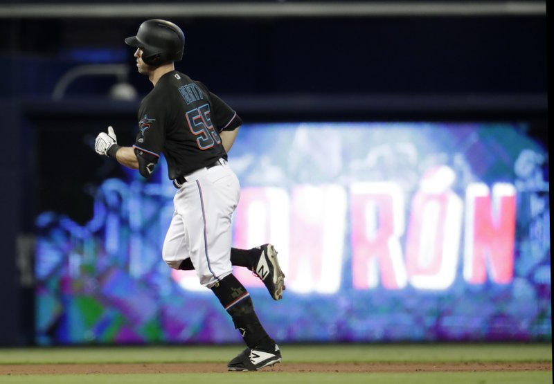 Miami Marlins' Jon Berti rounds the bases with a solo home run in the first inning during a baseball game against the New York Mets, Saturday, May 18, 2019, in Miami. (AP Photo/Lynne Sladky)