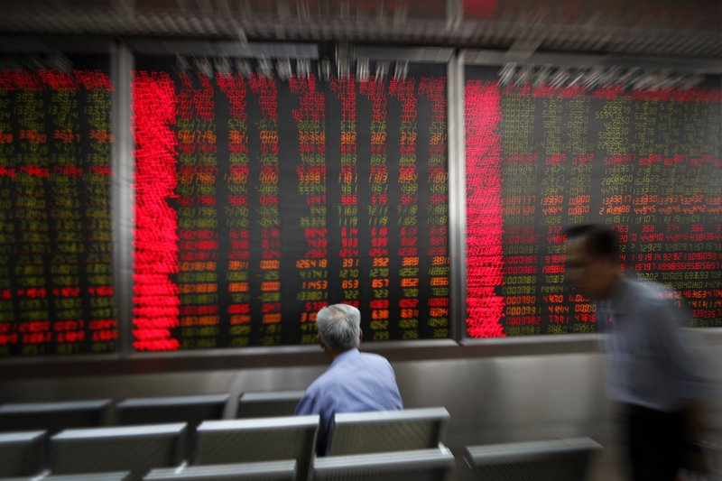 Investor monitor stock prices at a brokerage house in Beijing, Wednesday, May 22, 2019. Shares edged in Asia on Wednesday after a rebound in technology stocks helped power an overnight rally on Wall Street. (AP Photo/Andy Wong)