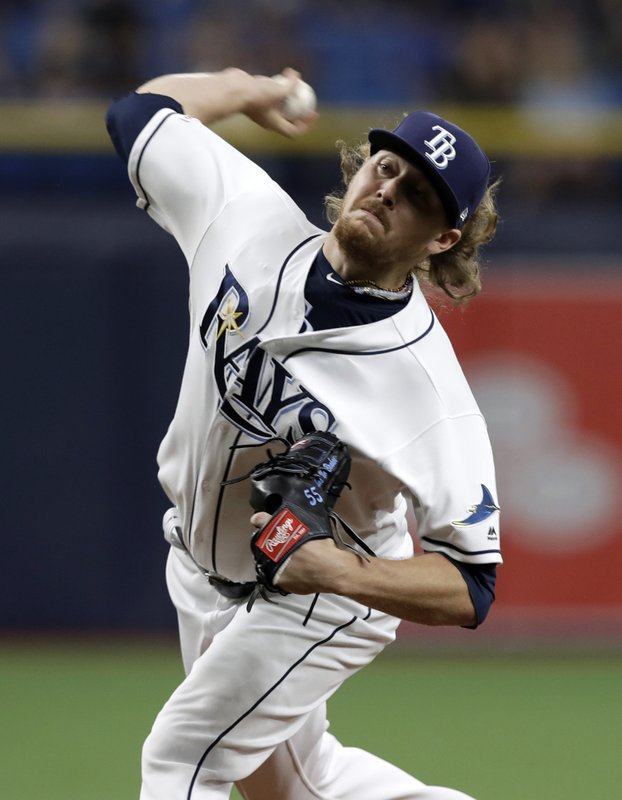 Tampa Bay Rays opening pitcher Ryne Stanek delivers to a Los Angeles Dodgers batter during the first inning of a baseball game Wednesday, May 22, 2019, in St. Petersburg, Fla. (AP Photo/Chris O'Meara)