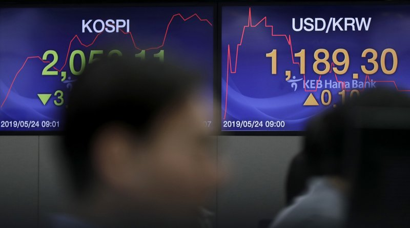 The screens showing the Korea Composite Stock Price Index (KOSPI), left, and the foreign exchange rate between U.S. dollar and South Korean won are seen as currency traders work at the foreign exchange dealing room in Seoul, South Korea, Friday, May 24, 2019. Asian shares were mostly lower on Friday as worries that the standoff between the U.S. and China over trade might expand put investors in a selling mood. (AP Photo/Lee Jin-man)