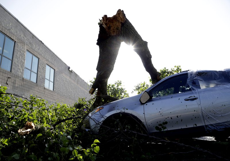 Downed tree limbs remain on cars outside a business Wednesday, May 29, 2019, in Morgantown, Pa. The National Weather Service says a tornado has been confirmed Tuesday in eastern Pennsylvania, where damage to some homes and businesses occurred, but there were no immediate reports of injuries. (AP Photo/Jacqueline Larma)