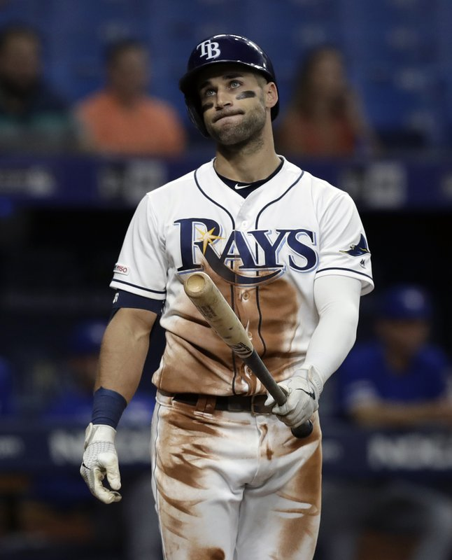 Tampa Bay Rays' Kevin Kiermaier reacts as his long fly ball goes foul against Toronto Blue Jays starting pitcher Trent Thornton during the third inning of a baseball game Wednesday, May 29, 2019, in St. Petersburg, Fla. (AP Photo/Chris O'Meara)