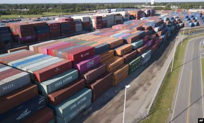 China Shipping Company and other containers are stacked at the Virginia Inter