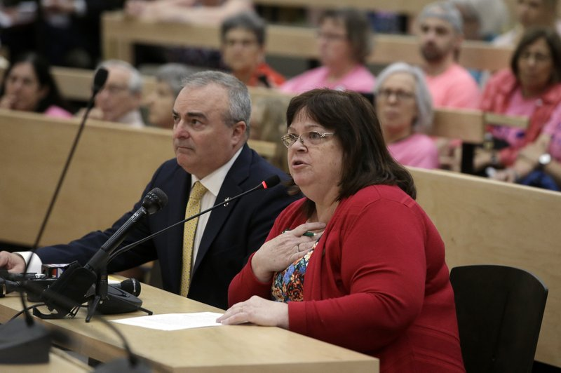 Mass. state Rep. Colleen Garry, D-Dracut, right, testifies against a proposed bill, called the