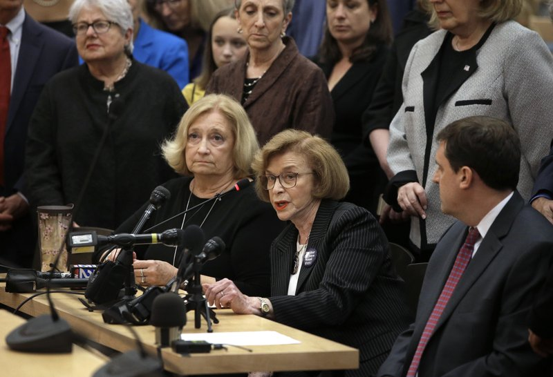 Mass. state Sen. Harriette Chandler, D-Worcester, seated center, testifies in favor of a proposed bill, called the