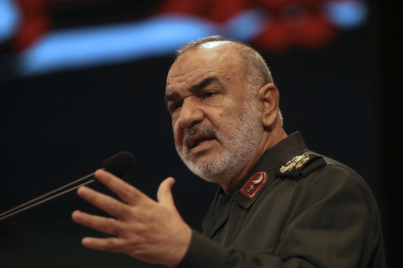 In this Nov. 22, 2018, the then deputy commander of Iran's Revolutionary Guard Gen. Hossein Salami speaks in a conference in Tehran, Iran. Iran's Revolutionary Guard shot down a U.S. drone on Thursday, June 20, 2019, amid heightened tensions between Tehran and Washington over its collapsing nuclear deal with world powers, American and Iranian officials said, while disputing the circumstances of the incident. The current chief of the Guard, Gen. Salami, speaking to a crowd in the western city of Sanandaj on Thursday, described the American drone as