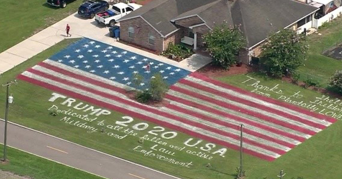 Man paints giant America flag on his lawn to honor President Trump, military, and law enforcement | TheBL.com