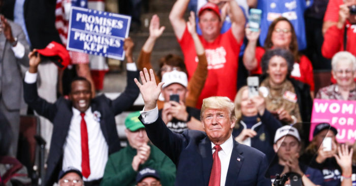 "President Donald Trump at a ""Make America Great Again"" rally in Rochester, Minnesota, Oct. 4, 2018. (Charlotte Cuthbertson/The Epoch Times)"