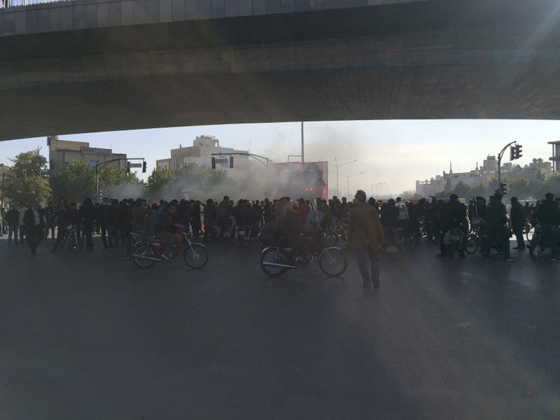 Streets are blocked in a protest after authorities raised gasoline prices, in the central city of Isfahan, Iran, Saturday, Nov. 16, 2019. Protesters angered by Iran raising government-set gasoline prices by 50% blocked traffic in major cities and occasionally clashed with police Saturday after a night of demonstrations punctuated by gunfire, in violence that reportedly killed at least one person. (AP Photo)