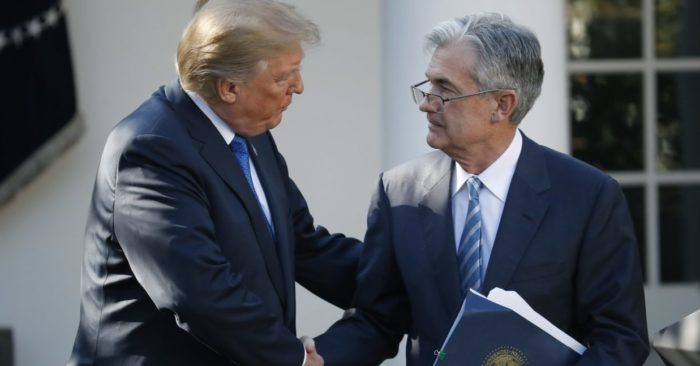 U.S. President Donald Trump shaking hands with Fed Chairman Jay Powell. (Photo AP/Alex Brandon, File