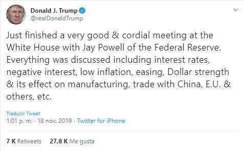 Just finished a very good & cordial meeting at the White House with Jay Powell of the Federal Reserve. Everything was discussed including interest rates, negative interest, low inflation, easing, Dollar strength & its effect on manufacturing, trade with China, E.U. & others, etc.