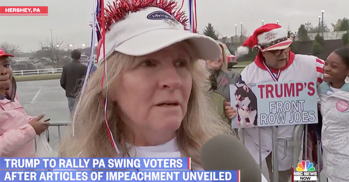 Trump supporters at Pennsylvania rally 'very upset' after Democrats release impeachment articles