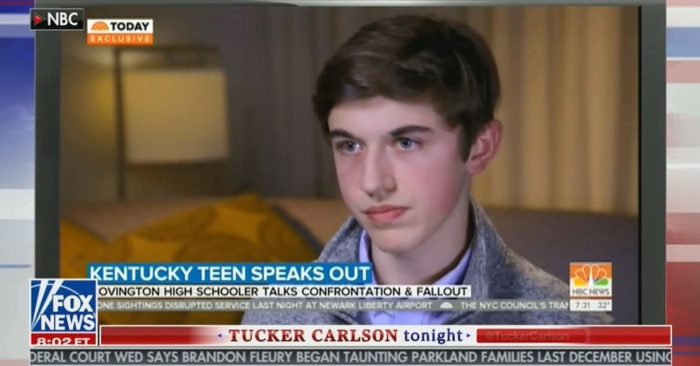 Nick Sandmann, the student at the center of the Covington Catholic scandal, is interviewed on Fox News. (Screenshot: Fox News)