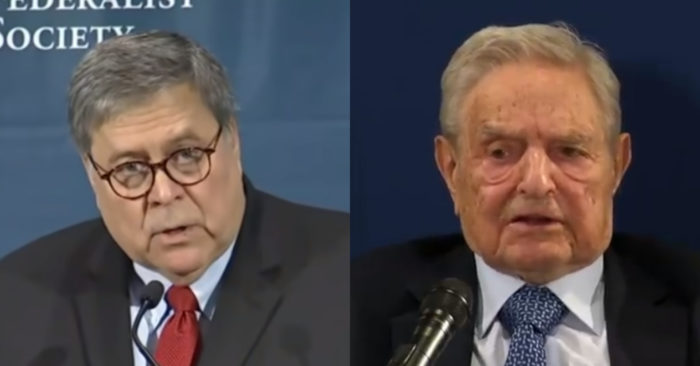 """Attorney General William Barr's indictment of Soros for """"increase in violent crime"""""""