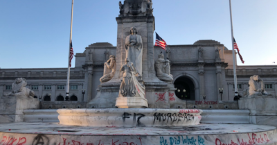No one cares as BLM rioters abuse police, spread trash and deface memorial statues in DC